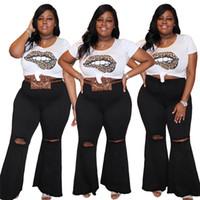 Rompe Black Skinny Jeans Mujer Flare Jeans Vintage Cintura Alta Abajo Plus Tamaño Pantalones con agujeros Bodycon Denim Jean Femme