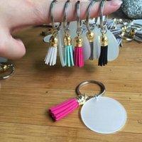 Kreativer Schlüsselanhänger 4cm Leerer Disc mit 3cm Wildleder-Quaste Vinyl-Schlüsselanhänger Clear Acryl-Scheiben-Quaste Keychain