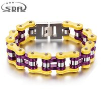 16mm Men' s Bracelets Yellow Purple color Stainless Stee...