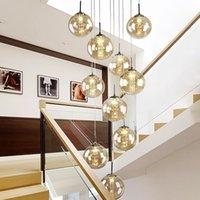 Yüksek Villa Entryway Orb Cam Merdiven Asılı Spiral Uzun Lambalar Modern Kristal Boncuk Merdiven Avize Ev Için