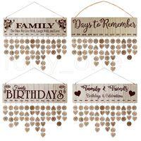 Meilleurs cadeaux pour les mères Famille en bois Anniversaire Rappel Calendrier Calendrier DIY Anniversary Anniversary Tracker Plaque Mur Suspendu avec Tags RRA4013