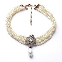 Multi Strand 4 Layer Glitter Strass cristallo simulato perle di perle Bib Choker Dichiarazione Collana Donne Party Prom gioielli da sposa