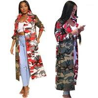 Frauengrabenmäntel Mode Temperament Herbst und Winter Lange Windjacke Weibliche Tarnung Stitching Jacke ABSCHNITT1