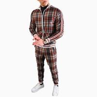 Erkek Eşofman 2020 Yeni Tasarım Eşofman Moda Ekose Ceket Pantolon Set Bahar Sonbahar Erkekler Jogger Seti