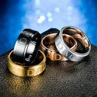 الفولاذ المقاوم للصدأ أحبك أبي الدائري الفرقة إصبع الذهب الأسود النساء الرجال خواتم الأزياء والمجوهرات وسترندي هدية