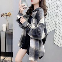 Women's Brushed Plaid Thick Ins Autumn Winter Long-Sleeved Woolen Shirt Casual Female Plus Size Loose