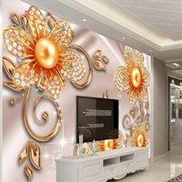 NOUVEAU Papier peint Mural 3D Mural Custom European Luxe Atmosphère Bijoux Pluune Chambre pour enfants Télévision Fond salon Chambre à coucher