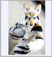 2019 venta caliente husky perro zorro mascota traje largo piel peludo traje artificial piel lobo traje de halloween