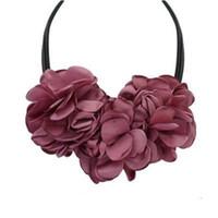 1 조각 새로운 귀여운 패션 보헤미안 패브릭 장미 꽃 초커 목걸이 여성 성명 목걸이 빈티지 좋은 선물 N801