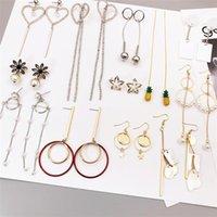 Großhandel 20 teile / los Mode Stein Hängende Ohrringe Geometrische Quaste AB Farbschutz Anti Allergy Ohrringe