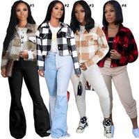 Kadın Tasarımcı Giysileri Kışlık Mont Uzun Kollu Kalınlaşmış Çift Taraflı Peluş Polar Ekose Ceket Kontrast Renk Açık Mont D112002 Tops