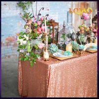 120x200 cm / 120x400 cm Glitter Pullu Dikdörtgen Masa Örtüsü - Gül Altın Pullu Masa Örtüsü Düğün Parti Noel Dekorasyon için F1214