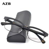 Azb Eyewearrahmen Verordnung Brillen Mann Gläser Optische Rahmen Rezept Hölzerne Metall Quadratische Brille Rahmen Klar Linse Augenglas T200428