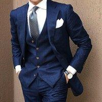 Yiwumensa 해군 격자 무늬 영국 남성용 웨딩 체크 정장 정장 Groom Prom 3 조각 세트 Tuxedo Hommes Costume Pantalon H6