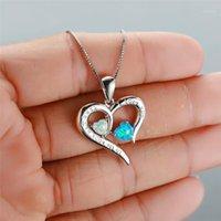 Boho fêmea smll Double coração pingente colar branco azul fogo checklaces para mulheres vintage prata cor casamento jóias1