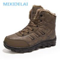 Mixidelai Yeni Erkekler Botlar Kış Açık Sneakers Erkek Kar Botları Sıcak Tutmak Peluş Çizmeler Peluş Ayak Bileği Kar İş Rahat Ayakkabılar 201215