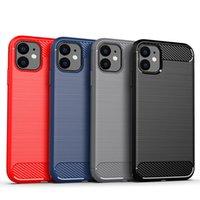 Kolfiber Borstat Soft TPU Väska till iPhone 12 Mini 11 Pro Max 6 7 8 Plus SE 2020 LG K51 STYLO6