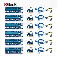 컴퓨터 케이블 커넥터 6pcs 황금 Ver009 USB 3.0 PCI-E 라이저 Ver 009s Express 1x 4X 16X Extender 어댑터 카드 SATA 15Pin ~ 6 Pin Pow