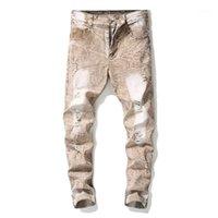 Jeans masculinos idiota Moda Mens Casual Rasgado Holes Straight Slim Fit Calças Denim Clássico Vintage lavado para Male1