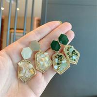 Doğal Taş Küpe Alaşım Rhinestone Kristal Kulak Çiviler Altın Kaplama Çerçeve Poligon Kadınlar Charm Eardrop Moda Takı Yeşil 2 4 SFB L2
