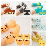 0-4Y Baby Детские носки животных печати хлопчатобумажный носок младенческий корейский мультфильм не скольжения носки для мальчиков девушки малыши новорожденные детские тапочки G20304