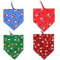 Impreso PET triángulo bufanda navidad santas santas mascotas arco del arco collar gato cachorro cachorro mascotas encantador bufandas accesorios vt1960
