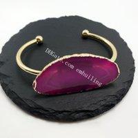 30pcs FreeForm Agate SLICE Plaqué Or Plaqué Or Nivelé Banglier Magnifique Violet / Bleu / Vert / Rose Agate Rouge Slice Fantaisie Bracelet Réglable à la main