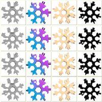 Snowflake multi utensile 18 in 1 Fiocco di neve Multitool Wrench Apribottiglie multilitoolio Portachiavi Anello Bike Fix Tool Regalo di Natale per uomo EEF4267