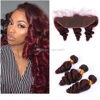 99J Бургундия Свободная Глубокая Волна Человеческие Волосы Wefts 3 Пакета С 13x4 Кружева Фронтальные Бразильские Урежины Волос Красный Винный Цвет
