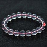 Perlen, Stränge Großhandel 9-14mm Echte Mosambik Natürliche Rosa Quarz Kristall Klarer Stern Light Liebe Runde Perlen Stretch Charme Armband