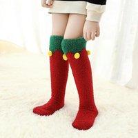 عيد الميلاد طفل الطفل أطفال بنات الجوارب الخريف الشتاء الركبة الجوارب فتاة المرجان الصوف جورب لطيف الكرتون الأطفال أنبوب طويل جوارب