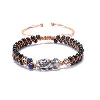 PI YaO encanto pulseras obsidiana 4 mm piedras ricos afortunado símbolo pixiu con cuentas ajustable joyería hecha a mano Y1119