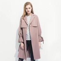 2020 Herbst Neue Trenchmantel Frauen Plus Größe mit Gürtel Mode Lange Mantel Elegante Frauen Bell Sleeve Slim Herbst Windjacke