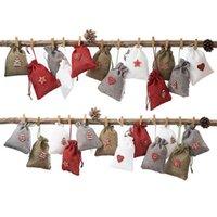 Bolsas de calendario de Adviento de Navidad Set 24 días Bolsas de la arpillera Bolsos de cordón DIY Decoración navideña con clips JK2011KD