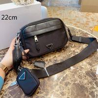 2021 Mens Black Cámara Bolsas Diseñadores Bolsas de Crossbody Moda Pequeño Nylon Bolso Hombro 2-Pic Flaps con bolsa de cambio GP202002 P12