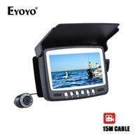 """Eyoyo Original 15m Infrarot Fisch Finder Unterwasser 1000tvl Eisfischen Kamera Videoaufnahmen DVR 4.3 """"Monitor 8 IR LED SUNVISOR"""