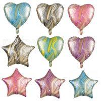18 pollici agata stella a cinque punte Balloon 18 pollici a forma di cuore rotonda stella a cinque punte di alluminio Balloons compleanno decorazione di palla RRA3831