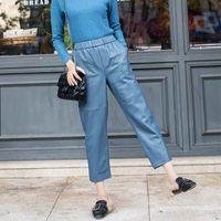 Kadın Pantolon Artı Boyutu Yüksek Bel Hakiki Gerçek Deri Pantolon Kadın 2020 Yeni Moda Pantolon Elastik Harem Pantolon Q0112