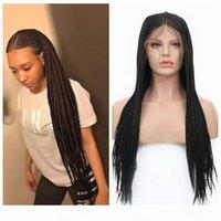 180% Densité Noir Micro Tresses synthétique avant de dentelle perruque Tressage Styles Cornrows demi-boîte perruques synthétiques tressées africaine cheveux pour les femmes