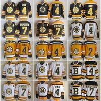 Boston Jersey Bruins Männer 4 Bobby ORR 7 Phil Esposito Eishockey Trikots Vintage CCM Home Schwarz Weiß 2010 Winter Classic genäht
