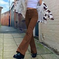 Bayan Moda Slim Fit Kahverengi Flare Kot Vintage Katı Yüksek Bel Kadın Pantolon Moda Demin Pantolon