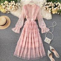 Fitaylor Vintage Çiçek Dantel Patchwork Balo Elbiseler Tatlı Kadınlar Boncuk Uzun Puf Kollu Peri Mesh Elbise Bahar Vestido1