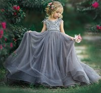 Grey Luxurious 2020 Flower Girl Dresses Lace Pearls Little Girl Wedding Dresses Cheap Communion Pageant Dresses Gowns ZJ699