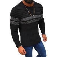 メンズセーターセーター男性カジュアルストライププルオーバーシャツ秋冬スリムフィット長袖メンズニットコットンプルホムトップ