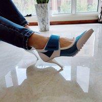 Весенние бомбы женские повседневные, дышащие летние каблуки восемь дюймов Высокая обувь вязаные кроссовки заостренные ноги на слайде