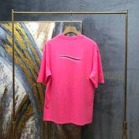 새로운 도착 디자이너 티셔츠 솔리드 컬러 웨이브 프린트 티셔츠 패션 망 티셔츠 여성 최고 품질의 반소매 Tshirt 레저 탑 티