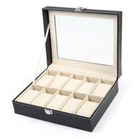 10 grilles Boîte de montre en cuir PVC noir