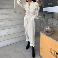 Frauen-Jumpsuits Strampler Alien Kitty L2021 Herbst Langarm-Revers-Frauen-Frauen Casual Hohe Taille Cord-Overalls Solid Office Lady1