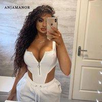 Anjamanor مثير ارتداءها Bodycon بذلة 2020 الصيف نادي مهرجان الملابس الأمامية البريدي عارية الذراعين عالية قطع ثونغ الجسم الدعاوى D85-I841