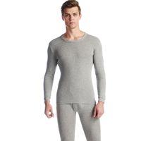 Tiaraka Long Johns Set per uomo 100% cotone inverno girocollo girocollo caldo ultra-morbido colore solido sottile biancheria intima termica pigiama da uomo